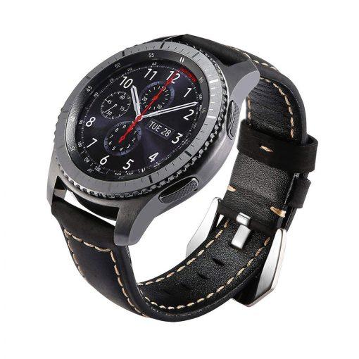 Robust Läderarmband till Samsung Galaxy Watch 46mm & Gear S3 Svart
