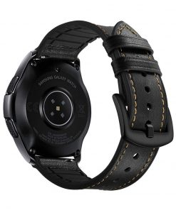 Läderarmband Hybrid till Galaxy Watch 46mm - Svart